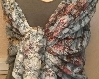 Multicolored lace wedding shawl