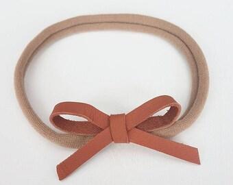 Brown Faux Leather Nylon Headband