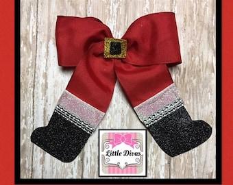Santa hair bow, Xmas hair bow, Santa bow, red Xmas bow, holiday bow, Christmas bow, hair bow, Santa bow with boots