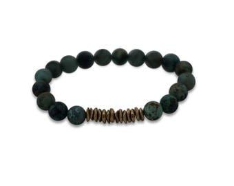 Olivia African Turquoise + Brass Bracelet