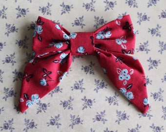 Red Fall Floral Sailor Bow. Alligator Clip. Nude Nylon Band. Baby Girl Hair Bow