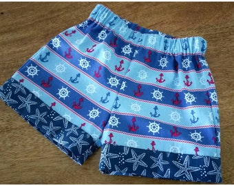 Boys shorts, sailor shorts, nautical shorts, boys clothing, boys fashion, baby clothes, handmade