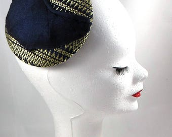 Round fascinator fabric gold and midnight blue