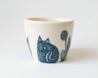 Cat & Flowers Illustrated Cup