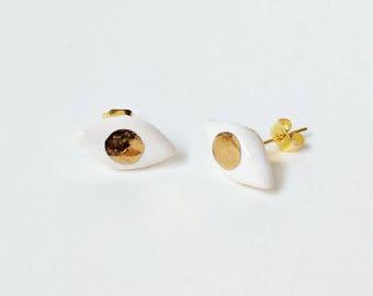 Gold Eye Earrings