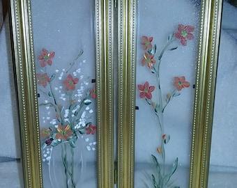 Hand painted framed dlass