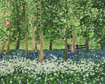 Oil landscape painting of bluebell and wild garlic forest; impressionism, blue, original artwork, wall art