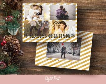 Seasons Greetings Card, Christmas Card, Gold Stripes, Photo Card, Holiday Card, Printable Card, Greeting Card, 5x7 Card, Digital File, JPEG