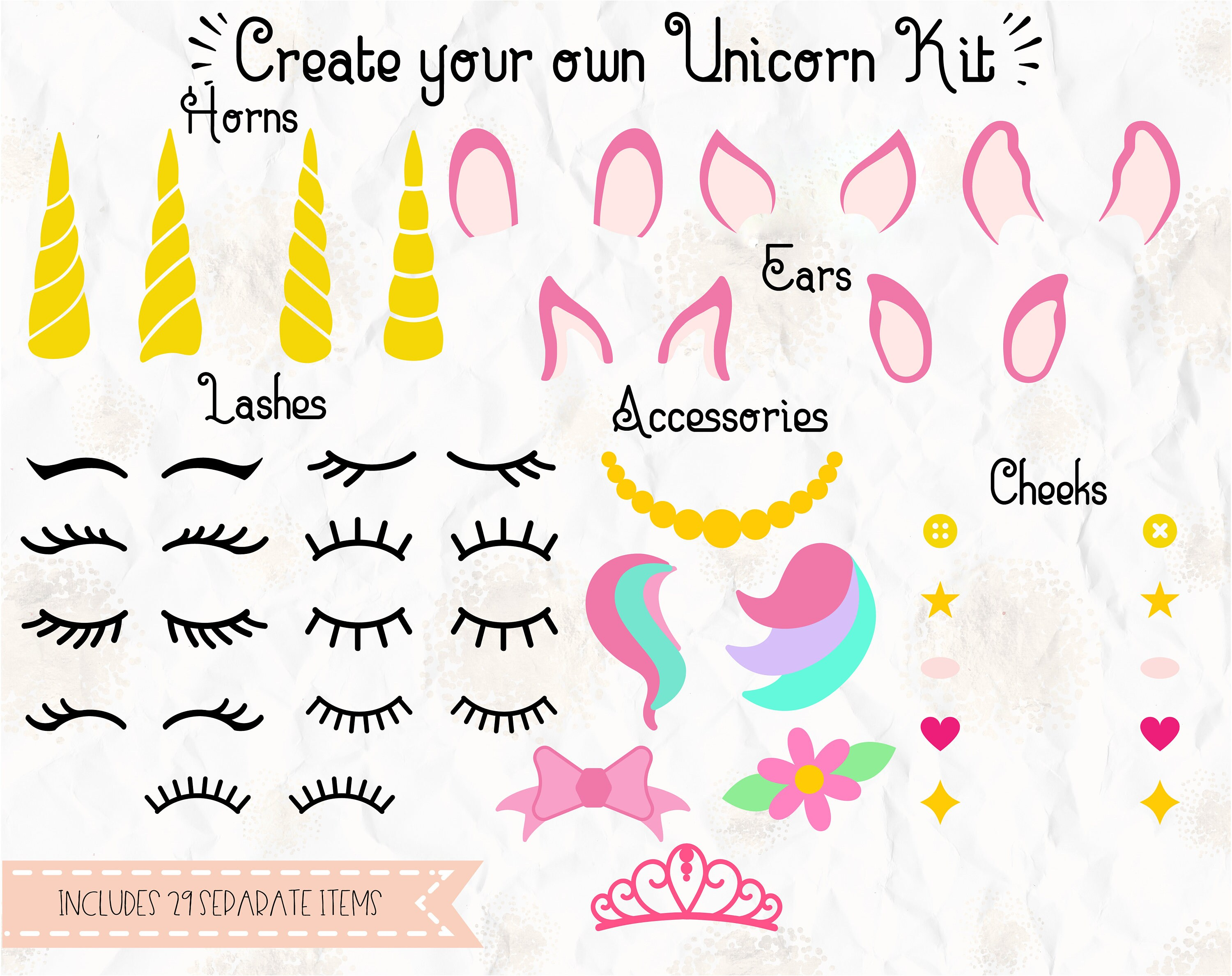 Create Your Own Unicorn Kit Unicorn Lashes Tiara Bow