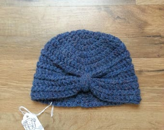 Crochet baby 0-3 month turban hat