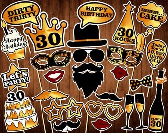 30th Birthday Photo Booth Props - Printable PDF - Dirty Thirty Props - INSTANT DOWNLOAD - Thirtieth Birthday Party Supplies