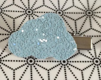 Blue faux leather glitter cloud hair clip