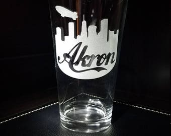 AKRON OHIO Skyline Etched Pint Glass