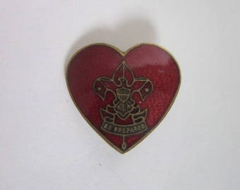 Antique Red Enamel Boy Scouts of America Rank Pin Life Scout