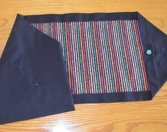 Rectangular Festive Table Runner, Brightly Colored Stripes/Black, 14 X 41 inches