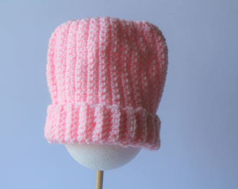 Crochet Winter Hat- Baby Hat- Infant Winter Hat- Baby Shower Gift- Crochet Baby Hat- Newborn Hat- New Born Hat- Pink