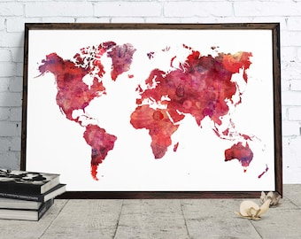 Pink world map etsy world map pink watercolor decor downloadable watercolor art home office poster wanderlust gift gumiabroncs Images