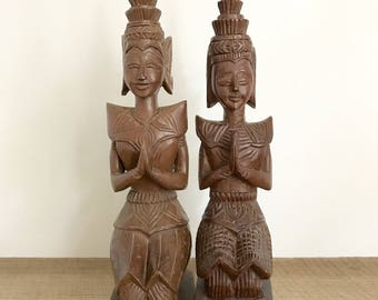 Kneeling Buddha Teak Statues from Thailand -set of 2