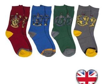 Harry Potter Socks Gryffindor Slytherin Hufflepuff Ravenclaw Kids Gift UK