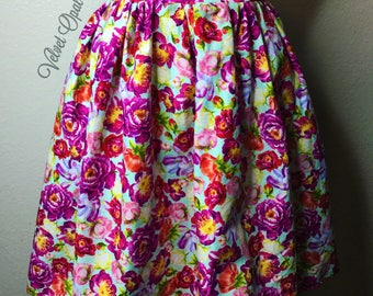 Floral Pinup Gathered Skirt