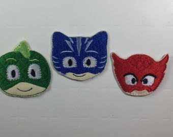 PJ Masks – Set of 3 – Catboy, Owlette and Gekko – Iron on Patches
