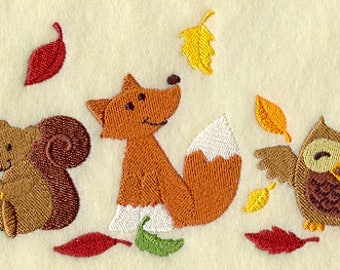 Autumn Creatures Trio, Embroidered Tea Towel, Dish Towel, Holiday Decoration, Fall Decoration, Autumn, Fox, Squirrel, Owl, Leaves
