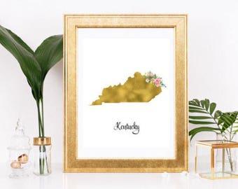 Kentucky gold foil print/ Kentucky print/Custom state print/ state gold foil print/ state print/ state art/ floral state print