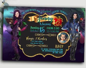Descendants invitations,descendants party, descendants party supplies, descendants invitation birthday, descendants 2 ,descendants disney