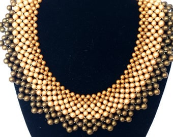 Vintage olive green and gold beaded collar necklace