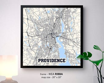 Providence Map Print Poster, Rhode Island map, University of Rhode Island, Johnson and Wales University, Community College of Rhode Island