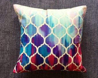 Blue Pink Purple Moroccan Quatrefoil Geometric Cushion Cover, Pillow Cover, Decorative Cushion, Throw Pillow, 45cm