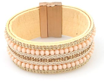 Blush and Cream Magnetic Bracelet with gold clasp