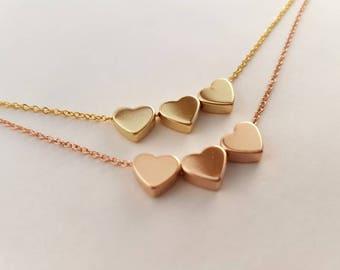 Three hear necklace, dainty hearts necklace, delicate  necklace, bridesmaids gift, love necklace, tiny hearts necklace, heart pendanr, gift
