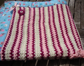 wool lined print baby blanket