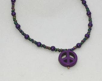 Purple Peace Sign Anklet