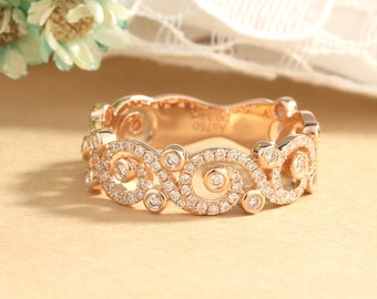 Vintage wedding band rose gold Twisted Wedding ring bridal Art deco Twining Eternity band Alternative Delicate Wide Antique Floral Design