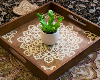 Large Wooden Decorative Tray