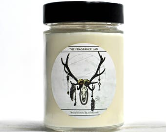Soy Candles - Art by Julie Fazooli | Cedar wood scented | Hamilton Ontario | Antlers | Earthy candles | Artist design | Home fragrance