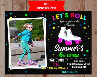 roller skating party invitation photo roller skating invitation boy girl birthday invitation roller skate invite birthday - Roller Skating Birthday Party Invitations
