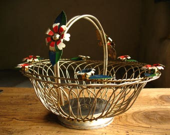 Vintage Silverplated Wire Basket with Enamel toleware flowers, French, 1960s