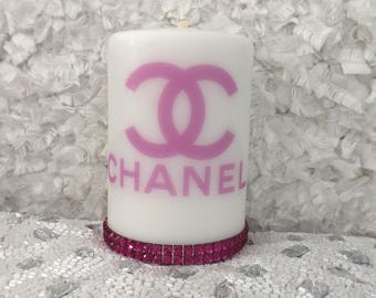 Designer Inspired Candle with Pink Detail