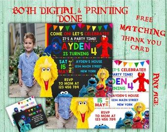 Sesame Street Birthday Invitations Elmo Photo Birthday Party Sesame Street Kids Birthday Printable Invitation Sesame Street Birthday Card