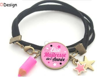 Pink black and white pencil star heart bracelet gift for the teacher-
