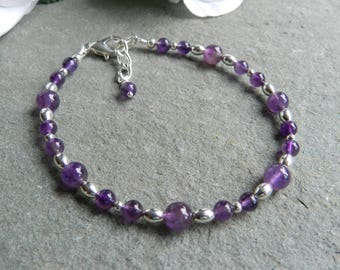 Amethyst Beaded Bracelet, Amethyst Bracelet, Amethyst Gemstone Jewellery,Birthday Gift, Anniversary, Bridesmaid
