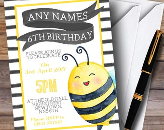 Bumble Bee Watercolour Children's Birthday Party Invitations