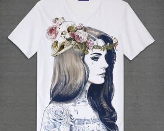 Lana Del Rey Born to die  White Crew neck T-Shirts Adult Unisex Size S M L XL