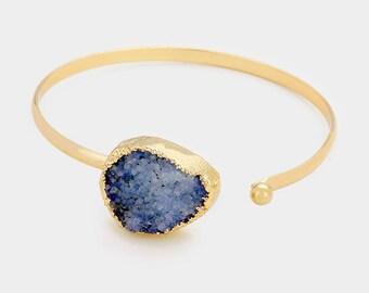 Blue Druzy Cuff Bracelet