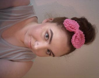 Knitted Pink Hair Bow