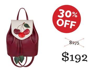 Leather red backpack red handbag convertible backpack cherry purse cherry accessory handbag women summer backpack summer handbag red white