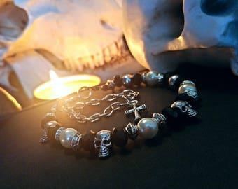 Skulls And Crosses Glass Metal And Pearl Beaded Bracelet